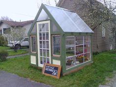 These little greenhouse's,  made of vintage & reclaimed materials, are beyond gorgeous! They're truly works of art from a artist and builder. Amazing stuff!