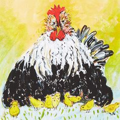 Black Mother Hen Limited Edition Fine Art Print by Jacques Pepin