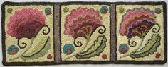 one flower hooked three different ways. In the first flower, she fills the flower areas with single wool filling in each area. In the second, she hooks the areas with contrasting outlines and solid fill, and the third is hooked with a combination of contrasted outlining, blended fill areas, and beaded outlining