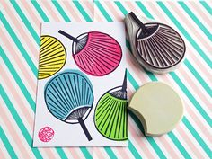 paper fan rubber stamps. japanese hand carved by talktothesun