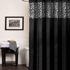 Classic Black and Silver Tile Patchwork Shower Curtain and Hooks or Separates…