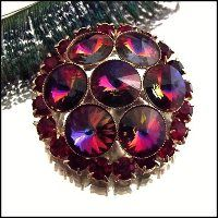 Schiaperelli Pin Rainbow Rivoli Crystal Brooch Vintage 1950s Jewelry