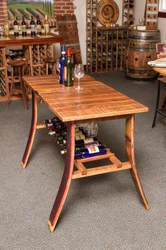 Wine Barrel Wine Country Tasting Table is made from French oak wine barrel staves. Tasting Table is a unique and practical piece of wine barrel furniture Whiskey Barrel Decor, Whiskey Barrel Furniture, Bourbon Barrel, Barrel Bar, Diy Home Furniture, Furniture Projects, Furniture Making, Furniture Makeover, Wood Barrel Ideas