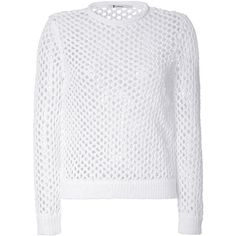 T by Alexander Wang Mesh Knit Pullover ($190) ❤ liked on Polyvore featuring tops, white, knit pullover, mesh top, t by alexander wang, white long sleeve top and white knit top