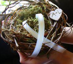 Rustic Wedding Ring Bearer Birds Nest via @angela4design