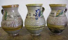 "#46-146 Antique ceramic pitchers: ""Por ti muero"" :6Dx8.5H ""Soy tuyo"" : 5.5Dx8H ""Amada mia"" : 5.5Dx8H - Guatemala -"