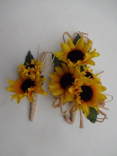 2 Piece wrist corsage and boutonniere in mini sunflowers$15.00