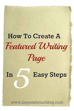 If you are a blogger and want to promote your writing that has been featured on other websites, follow these 5 easy steps to create a featured writing page. This will make it easy for other bloggers as well as publishers and others looking to work with you, to find you and get a feel for your writing experience and resume.