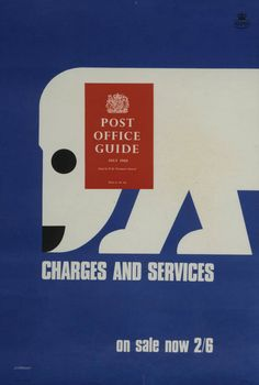 Tom Eckersley, July 1968, The 'Post Office Guide, Charges and services, UK.
