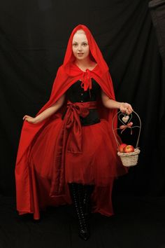 Red riding hood steel boned halloween corset costume outfit-whole corset outfit-made for buyer on Etsy, $300.00