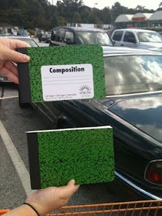1/2 size composition notebooks - I saw this at a workshop. I'd love to do this next year for problem-solving. Where do you get it done? Home Depot's table saw? Print shoppes that cut large stacks of paper?