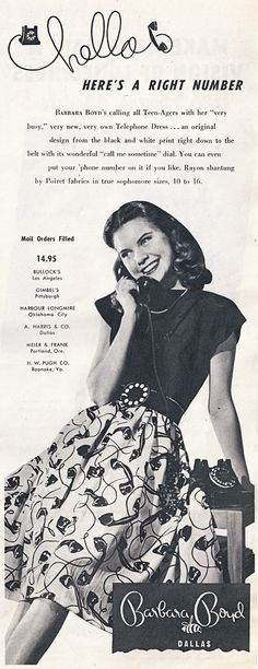 Telephone novelty print dress 1947