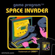 Space Invader | Shirtoid #cat #cats #computer #gaming #keyboard #matheuslopescastro #mathiole #spaceinvaders #videogame