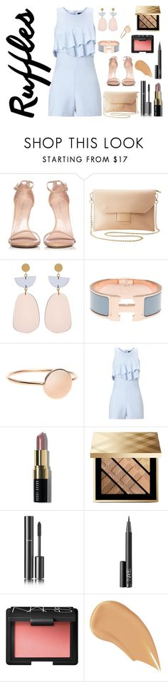 """Ruffles Rompers"" by shosho-mahmmod ❤ liked on Polyvore featuring Stuart Weitzman, Charlotte Russe, Isabel Marant, Hermès, Miss Selfridge, Bobbi Brown Cosmetics, Burberry, Chanel, NARS Cosmetics and trending"