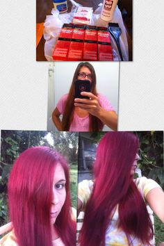 Before and After Hair Color. Loreal Hilights for Dark Hair Magenta. I absolutely love this color. So happy I did research before coloring my hair. Loreal Hi Color Magenta, Magenta Red Hair, Red Copper Hair Color, Hair Kit, My Hair, Beauty Hacks, Beauty Tips, Dark Hair, Hair
