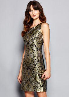 ideeli   CHETTA B. Boat Neck Sleeveless Printed Dress