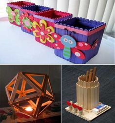 "25 Ideas ""DIY and Craft"" para crear y decorar con palitos de helado.                                                                                                                                                     Más"
