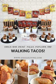 Create a walking taco bar for your next celebration! walking taco bar/snack bar ideas/graduation party ideas/party ideas for boys/ teen party/ game day party/ snack table fun/ Birthday Party Snacks, Birthday Party For Teens, 18th Birthday Party, Snacks Für Party, Party Food Bars, Graduation Party Games, Teen Party Foods, Bar Food, Boy 16th Birthday