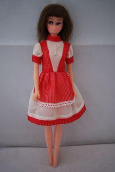 Barbie clone doll brunette hair bangs cat eyes 70 s