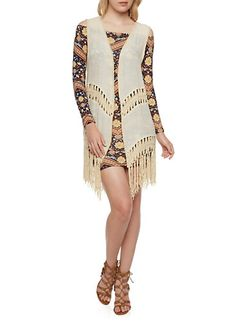 Embroidered Vest with Crochet Fringe Trim