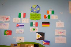 I choose this picture because In this picture children's work are presented on the wall. The reflection says they talked about places where the families come from and drew different flags according to the maps. Through the display, we can understand each child has different background, and they increase their mutual understanding by sharing their cultures.