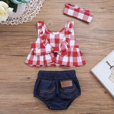 Toddler Infant Baby Girl Outfit Clothes T-shirt Tops+Denim Shorts/Pants 2PCS Set - #2PCS #baby #Clothes #Girl #Infant #Outfit #Set #ShortsPants #Toddler #TopsDenim #TShirt