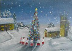 Christmas Choir   Christmas Art Original Oil Painting 7 x5