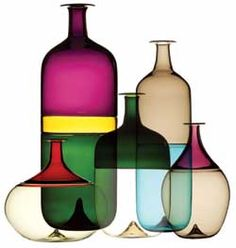 Murano glass by tapio wirkkala 1968 (I am lucky to have inherited the two bottles in the back.  Now for the other three...)