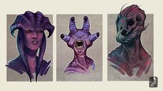 ALIENS HEAD CONCEPT II by Zarnala.deviantart.com on @deviantART  I really think these are great. They are less human (except the first one). It's really hard to make a monster or creature that isn't human but if you look at it you will know what you see. Here you see aliens. What are the requirements for species?