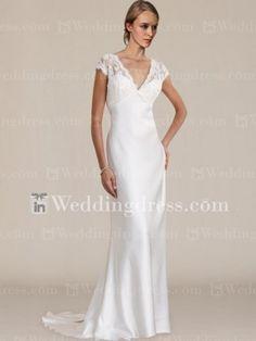 ---Product Description---    Fabric: Satin & Lace  Neckline: V-neck  Sleeve: Cap sleeves  Waist: Natural  Hemline: Floor-length  Back: Zipper  Train: