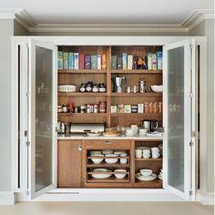 48 Unique Mug Storage Solutions That You Need To See Today - Modern Home Design Bespoke Kitchens, Luxury Kitchens, Home Kitchens, Kitchen Organisation, Kitchen Storage Solutions, Kitchen Larder Cupboard, Wall Cupboards, Cupboard Design, Cupboard Ideas