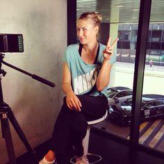 Maria Sharapova finishing interviews today following her first round win Mutua Madrid Open