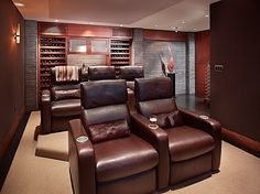 Super comfortable home theater on Mercer Island, Washington. Would be perfect in any man cave!