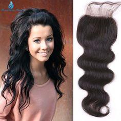 7A Unprocessed hair Brazilian Lace Closure Bleached Knots Cheap Brazilian Body Wave Closure, Swiss Lace Front Closure free ship