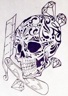 skull tattoo | mexican skull and razor knife by ~buddh on deviantART