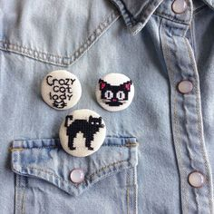 Kara kedi Etamin broş