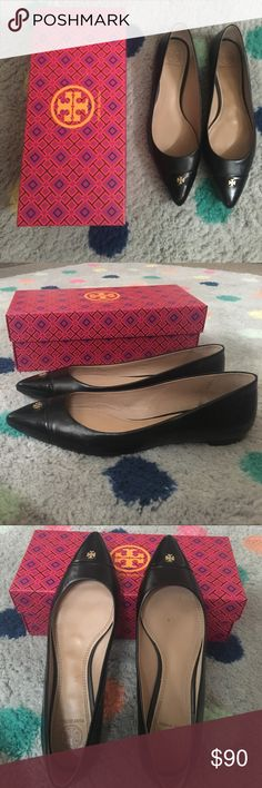 Tory Burch Pointed Toe Flat Size 9 These Tory's are almost brand new. I have worn them perhaps five times. Why I bought them? They were on sale at Nordstrom's and I love a sale. Why I don't wear them? Since I had a baby my feet are wider and they do not fit me. Tory Burch Shoes Flats & Loafers