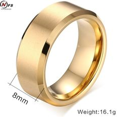 8mm Tungsten Ring Gold/ Black Brushed Matte Finish Center Beveled Edges Men's Jewelry For Engagement Comfort Fit Never Fade