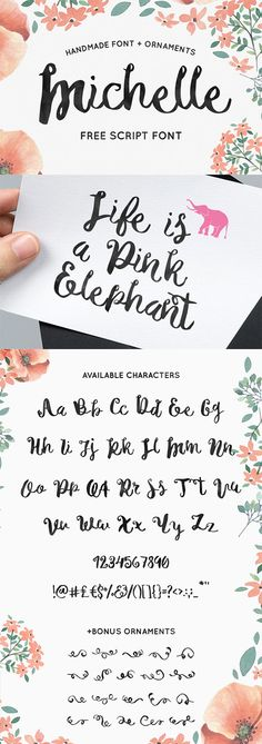 A free handmade script font called Michelle by Noe Araujo. He has handcrafted this amazing handcrafted font with love and care. This font is perfect for your logotype or maybe for a wedding card or some headlines for your website. Free for personal and commercial use.