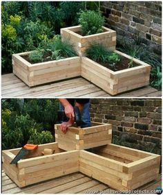 20 DIY Raised Garden Bed Ideas Instructions [Free Plans] - Planters - Ideas of Planters - DIY Corner Wood Planter Raised Garden DIY Raised Garden Bed Ideas Instructions garden planters x Etched Terra Cotta Planter White - Opalhouse™ Raised Herb Garden, Herb Garden Planter, Diy Garden Bed, Garden Boxes, Garden Pallet, Wooden Garden, Raised Gardens, Patio Planters, Herbs Garden