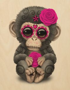 Day of the Dead Sugar Skull Baby Chimp | Jeff Bartels