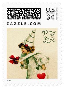 Vintage Valentines Day Postage Stamp. Send a vintage Valentine greeting to someone special https://www.zazzle.com/vintage_valentines_day_postage_stamp-172786073465212495 #valentine #ValentinesDay #stamps #postage