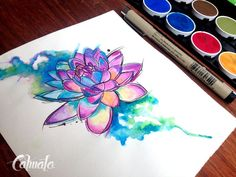 loto mandala watercolor tattoo designs - Google Search