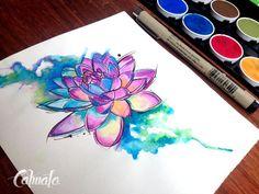 loto mandala watercolor tattoo