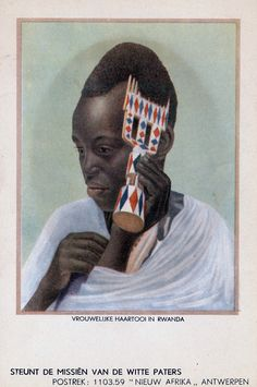 Africa | Woman combing her hair.  Rwanda || Scanned old postcard; Mission of the White Fathers