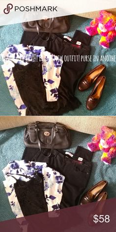 Ladies new outfit bundle! Brand new gorgeous George cardigan size large. Velvet black with lace trim tank xlg. Juniors 13 Super straight leg black jeans! Beautiful!!!  And if that wasn't enough shoes to complete this simply stunning outfit!  Shoes are Euro fit by stride, Sz. 9 1/2 Other
