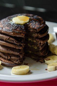 Chocolate + Banana Buckwheat Pancakes #chocolate #buckwheat #pancakes
