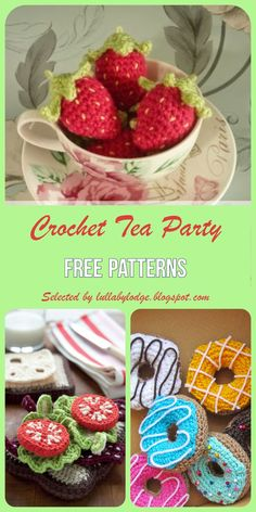 Crochet up a tea party for your little one. Free crochet patterns selected by Lullaby Lodge. Biscuits, cupcakes, sandwiches, donuts, strawberries and more. Crochet Tank Tops, Crochet Cape, Crochet Shirt, Crochet Geek, Crochet Motif, Free Crochet, Crochet Vests, Crochet Edgings, Crochet Cupcake