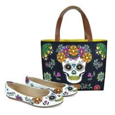 Bolsa Sacola Dupla Face + Sapatilha Basic, modelo La Mexicana, coleção Viajar é Preciso da Estilo Menina