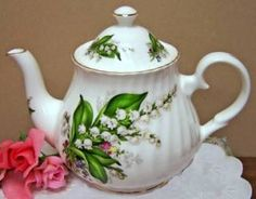 Lily of the Valley, my birth month flower. Russian china Bone China Four Cup Teapot Heirloom China - Tea Laden